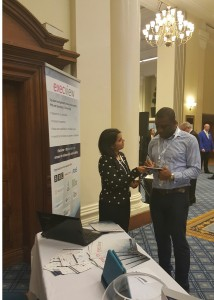 Execview's Mamta Tiwari speaking with a visitor to the Execview stand
